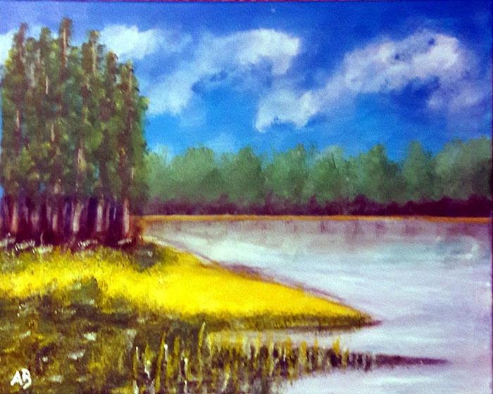 Wald am See,Acrylgemälde, Acrylbild, See, Bäume, Wald, Büsche, Landschaft, Natur, AcrylmalereiHimmel, Wolken, Blumen