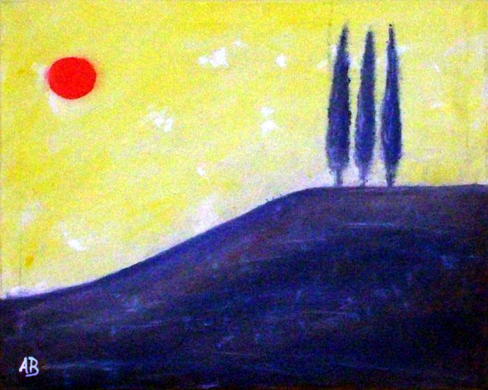 Toskana, Ölgemälde, Toskana, Sonne, Himmel, Berge, Hügel, Bäume, Zypressen, Lamdschaftsbild, moderne Malerei, Abstrakte malerei, Ölmalerei, abstrakte Landschaft