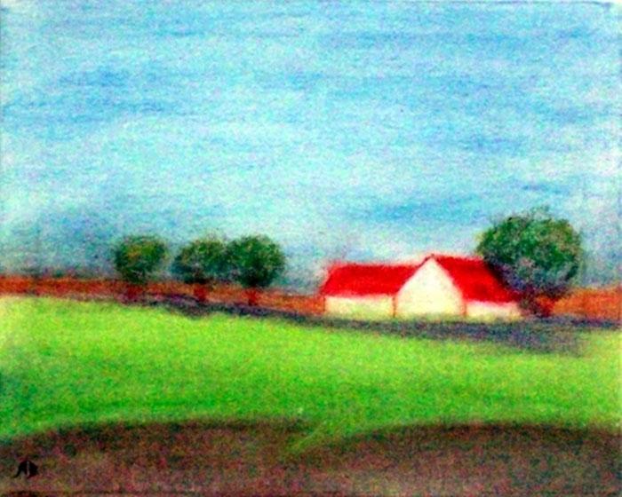 Häuser am Feld, Pastellgemälde Landschaftsmalerei, Feld, Bäume, Wald, Büsche, Blumen, Himmel, Pastellbild, Landschaft, Leinwand, Keilrahmen
