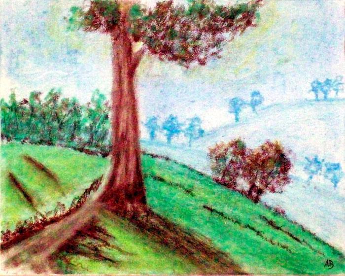 Weg am Berg, Pastellgemälde, Berglandschaft, Baum, Wiese, Bäume, Weg, Pastellmalerei, Landschaft, Pastellbild