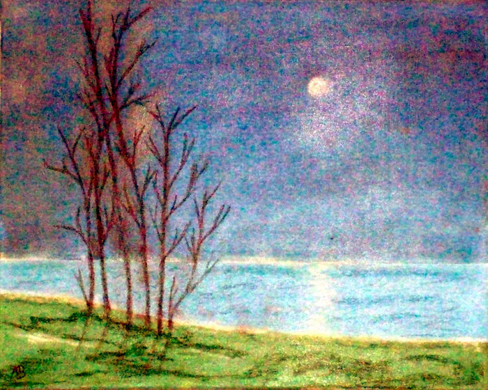 Nacht über dem Meer,Pastell, Acrylgemälde, Vollmond, Nachthimmel, Meer, Strand, Bäume, Gras, Pastell, Acrylbild Landschaftsbild, Landschaftsmalerei