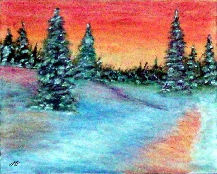 Sonnenuntergang im Winterwald, Mischtechnikgemälde, Wald, Bäume, Schnee, Sonnenuntergang, Winterlandschaft, Ölfarbe, Ölpastellkreide, Landschaftsbild, Ölmalerei
