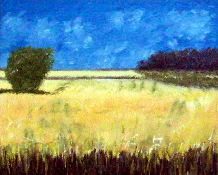 Feldlandschaft,-Ölgemälde, Landschaftsmalerei, Weizenfelder, Bäume, Himmel, Büsche, Gras, Ölmalerei, Landschaftsbild, Ölbild, Keilrahmen, Leinwand