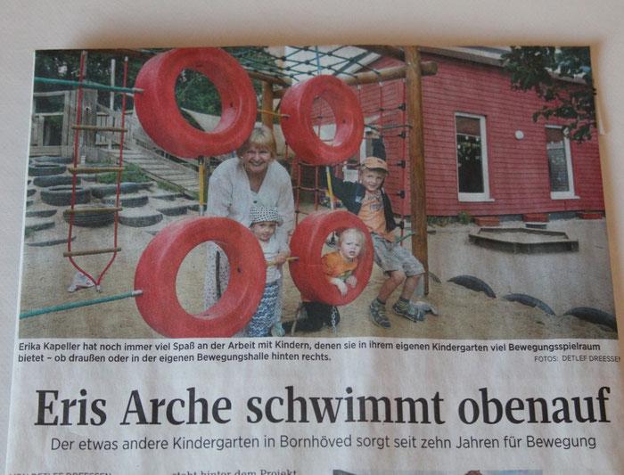 Eris Arche 10 Jahre mit Erika Kapeller in der Segeberger Zeitung