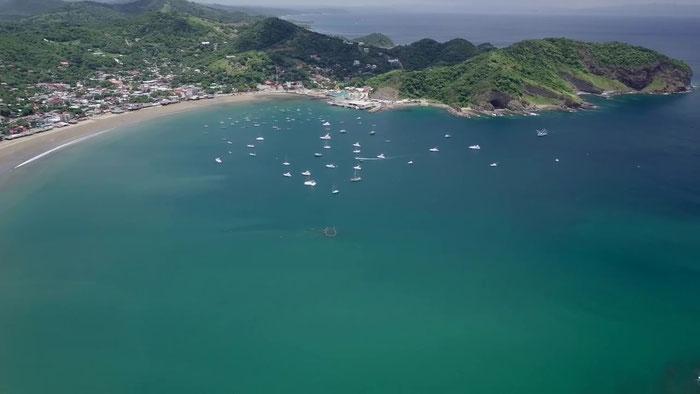 Vue aérienne de la Baie de San Juan del Sur