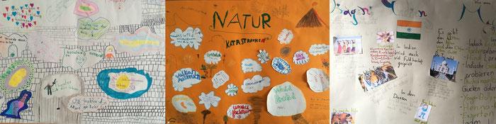 Plakate auf denen Schüler*innen ihre Ideen für das Gruppenthema darstellen