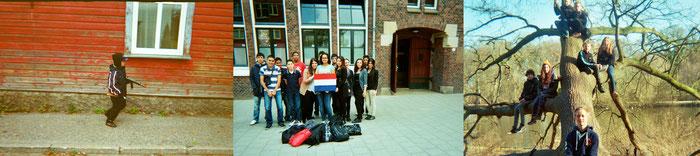 Fotos von Schüler*innen aus verschiedenen europäischen Ländern zu Schlüsselbegriffen wie Bildung, Zukunft und kulturelles Erbe