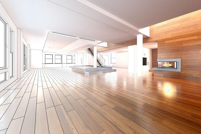 Fenster, Türen, Trockenbau, Fußboden, Wandverkleidung, indirekte Beleuchtung, Bauelemente