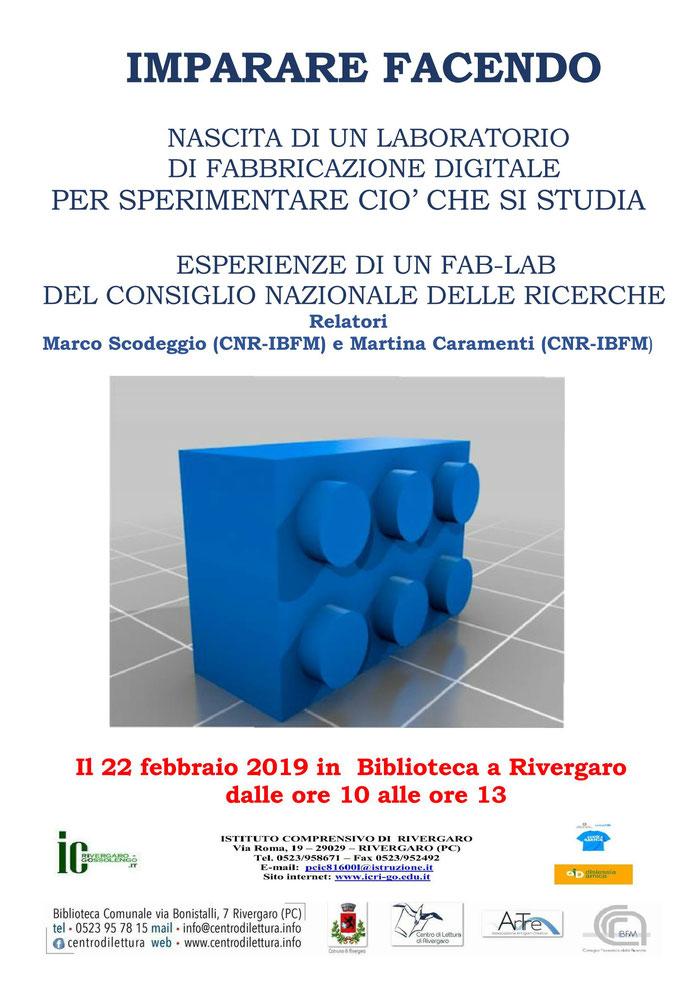 Imparare Facendo - 22 febbraio -  il CNR di Milano incontra gli studenti di Rivergaro