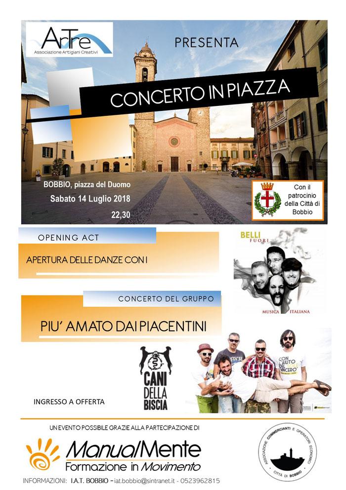 concerto in piazza Duomo -Bobbio 14 luglio 2018 - Cani della Biscia e Belli Fuori