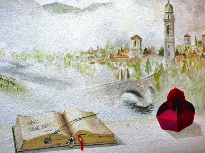 trompe l'oeil realizzato al Seminario di Bobbio dai corsisti di ArTre - docente Susy Renzi