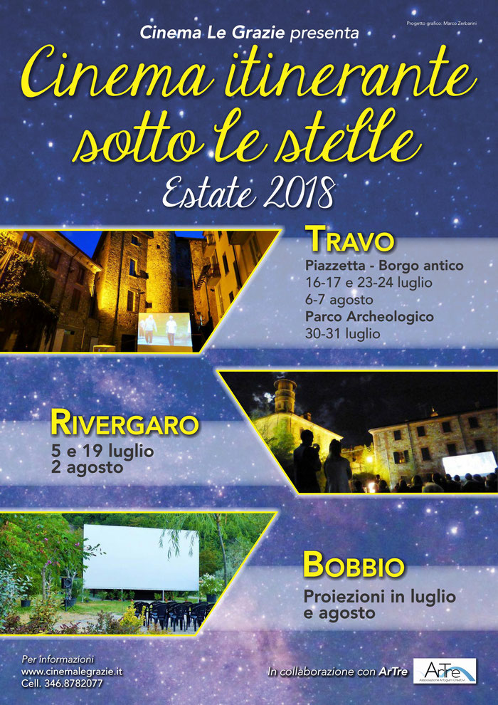 Cinema Itinerante sotto le stelle - estate 2018 - Cinema Le Grazie a Travo, Rivergaro, Bobbio