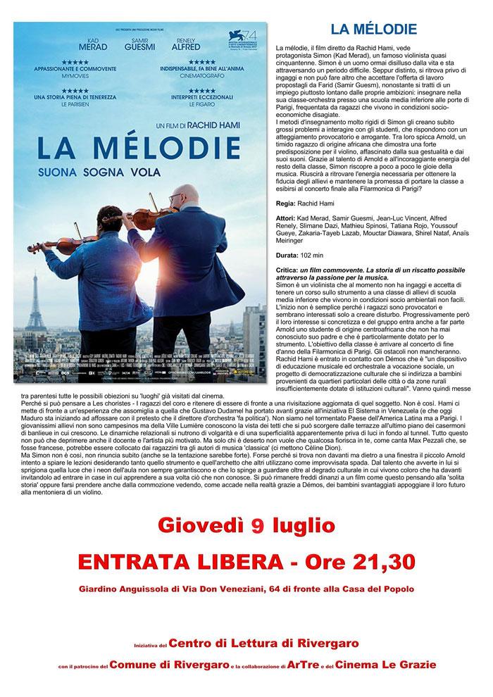 Rivergaro: Cinema sotto le Stelle estate 2020 - primo appuntamento giovedì 9 luglio ore 21,30 - LA MÉLODIE