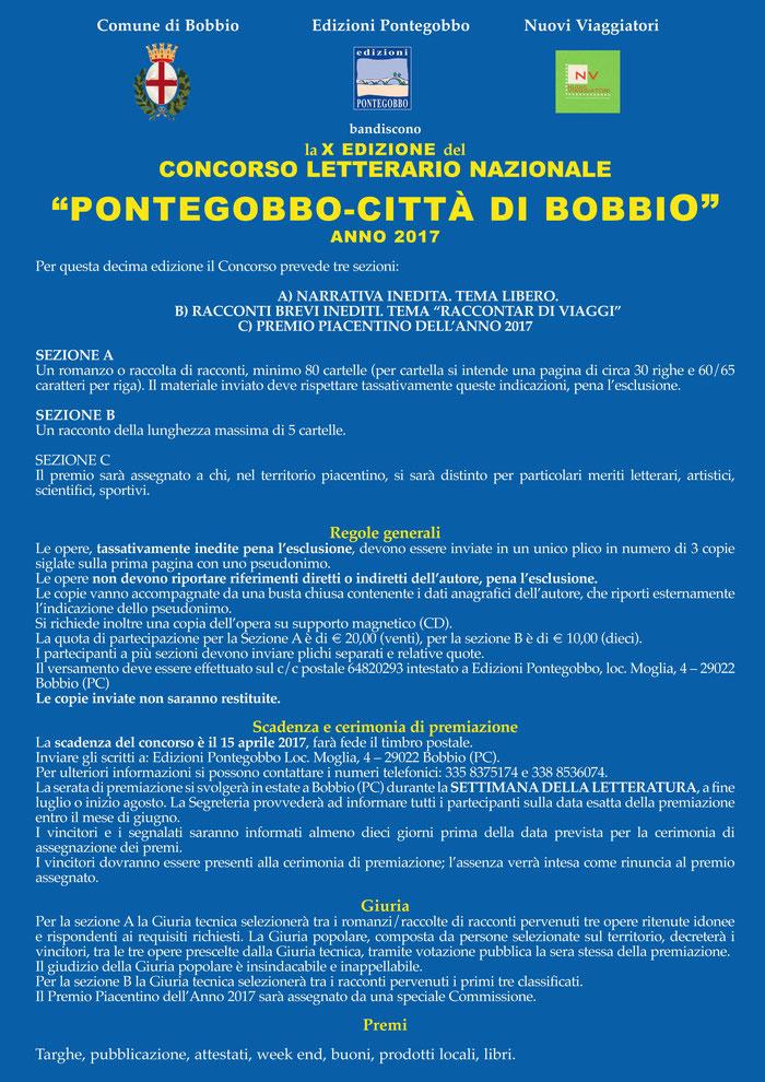 """Concorso Letterario """"PONTEGOBBO-CITTA' DI BOBBIO""""  La scadenza del concorso è il 15 aprile 2017, farà fede il timbro postale."""