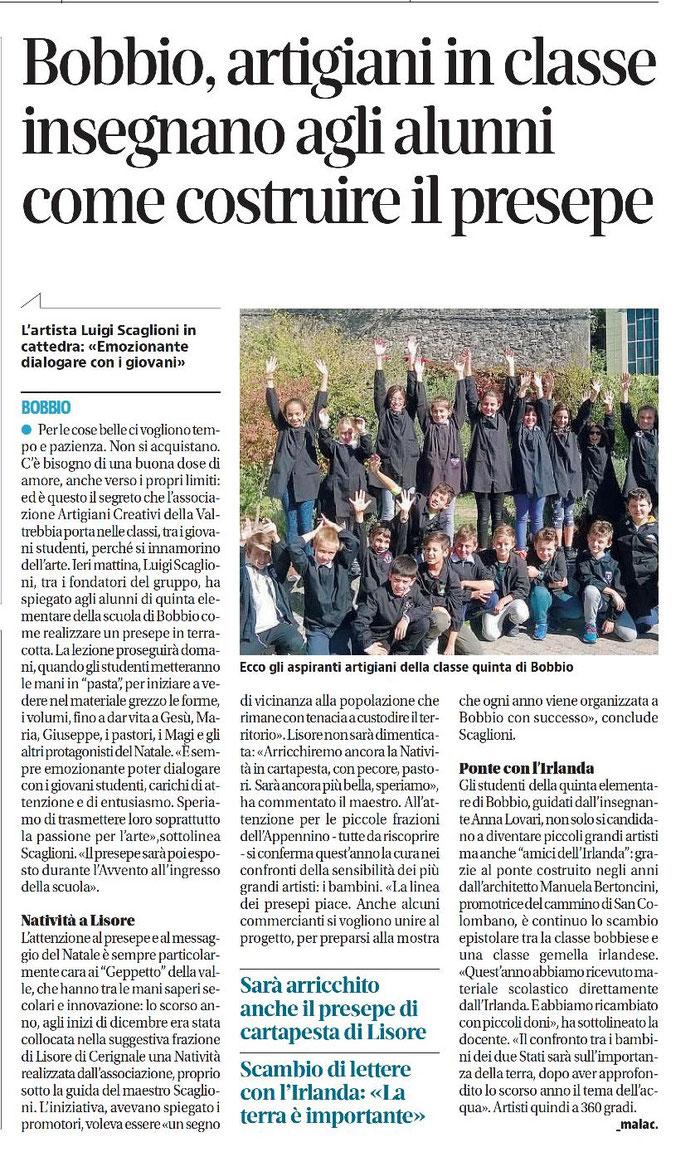 quotidiano Libertà - mercoledì 11 ottobre 2017 Bobbio, artigiani di ArTre in classe insegnano agli alunni come costruire il presepe