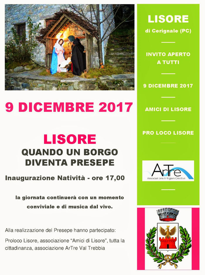 """gli """"Artigiani Creativi"""" di ArTre  9 dicembre ore 17,00 Presepe a Lisore """"quando un borgo diventa Presepe"""""""