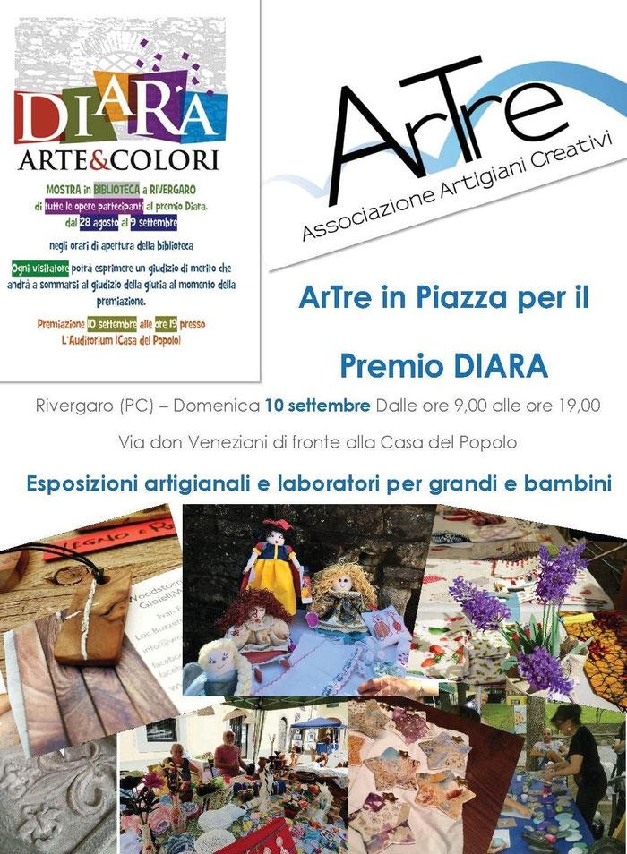 """gli """"Artigiani Creativi"""" di ArTre  a Rivergaro  per  """"Premio DIARA"""" 10 settembre RIVERGARO   esposizione e laboratori   di fronte Casa del Popolo dalle 9,00 alle 19,00"""