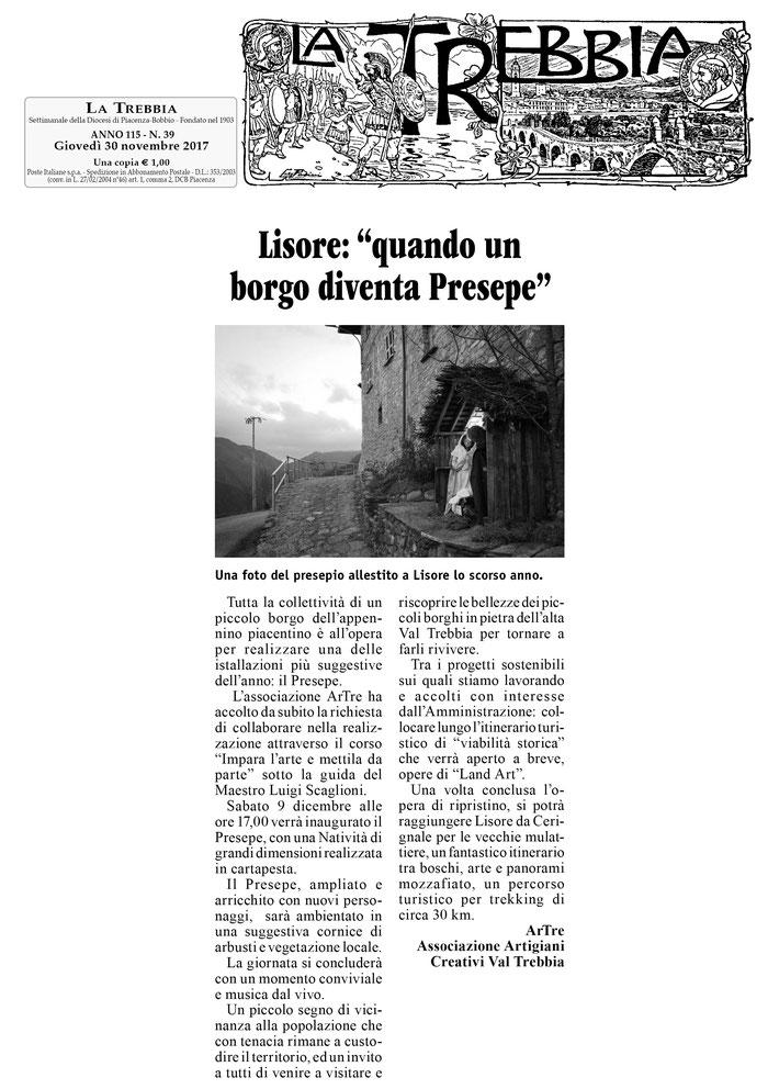 """settimanale """"LA TREBBIA"""" 30 novembre 2017"""