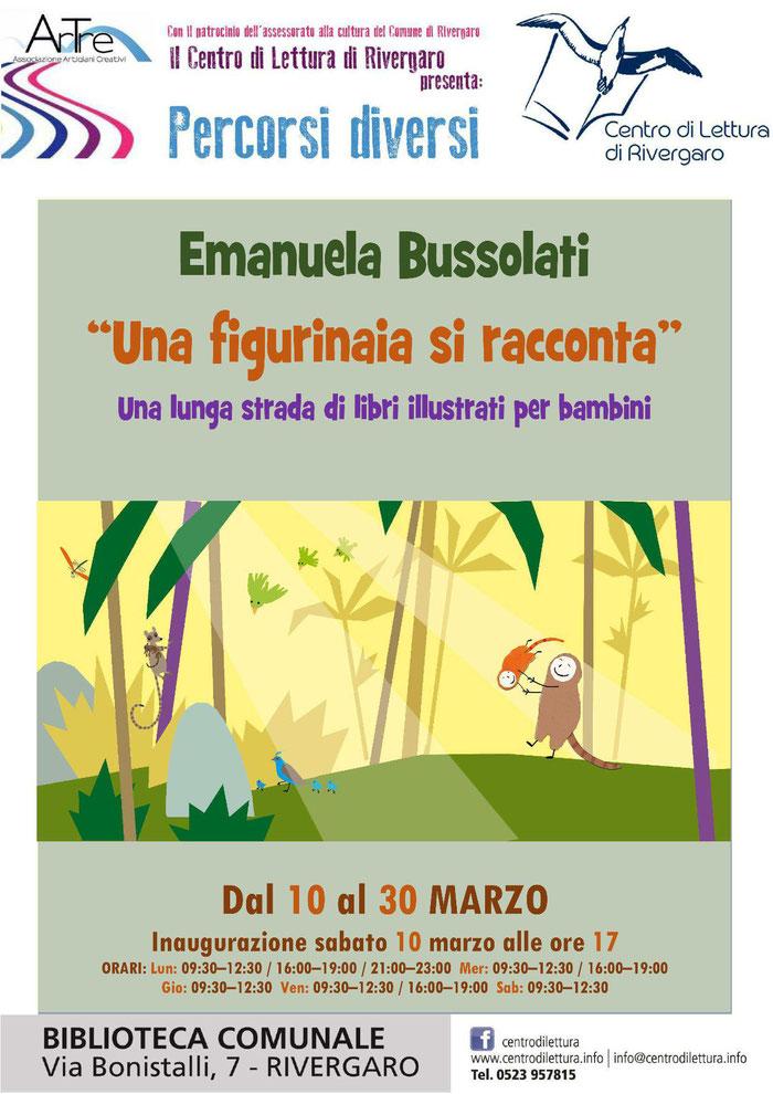 """Rivergaro: Mostra spazio permanente """"Percorsi diversi"""" del  Centro di Lettura     Mostra di Emanuela Bussolati  dal 10 al 30 marzo   INAUGURAZIONE   sabato 10 marzo ore 17,00"""