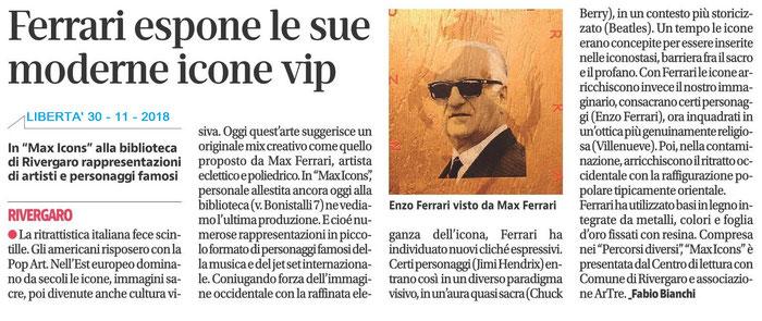 quotidiano Libertà 30 novembre 2018 - Max Ferrari