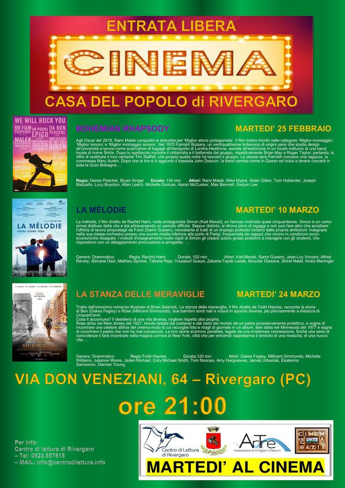 """RASSEGNA CINEMATOGRAFICA INVERNALE 2020  """"MARTEDI' AL CINEMA""""    martedì 25/2 - 10/3 - 24/3  alla Casa del Popolo.   via Don Veneziani, 64 -Rivergaro (PC)"""