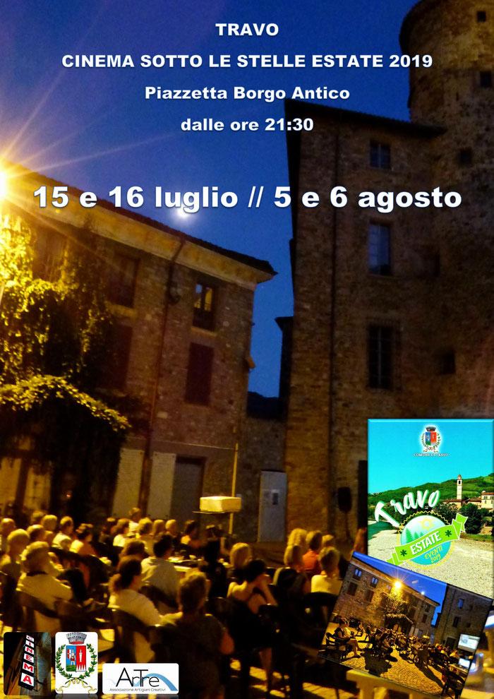 Travo: Cinema Sotto Le Stelle 2019     Luglio, 15 e 16 // Agosto, 5 e 6  Piazzetta Borgo Antico   dalle ore 21:30