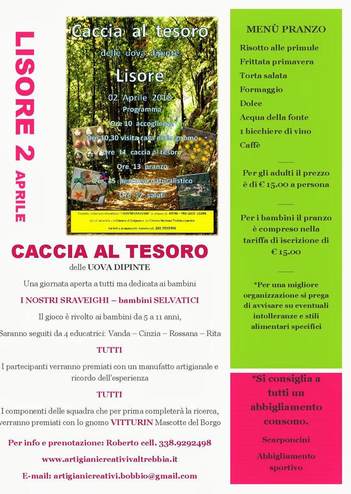 """Lisore 2 aprile """"Caccia al Tesoro dell Uova Dipinte"""" per info e prenotazioni: Roberto 338.9292498"""