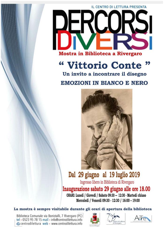 """Rivergaro: Mostra di """"Vittorio Conte"""" Un invito a incontrare il disegno EMOZIONI IN BIANCO E NERO dal 29 giugno al 19 luglio 2019"""