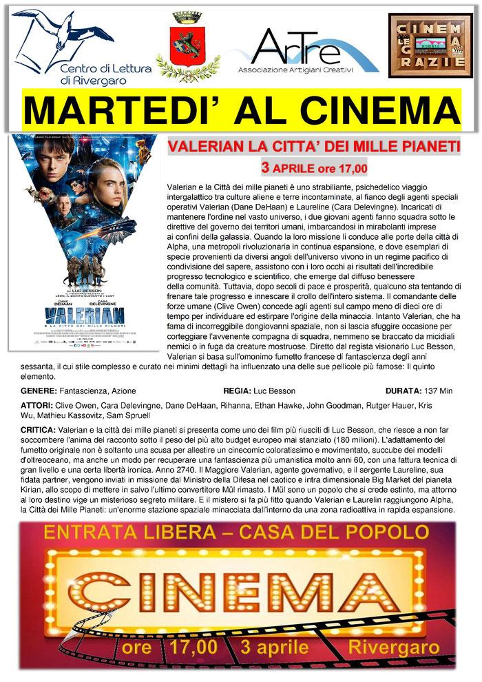VALERIAN E LA CITTA' DEI MILLE PIANETI - martedì 3 aprile ore 17,00 - Rivergaro (PC) Casa del Popolo ENTRATA LIBERA