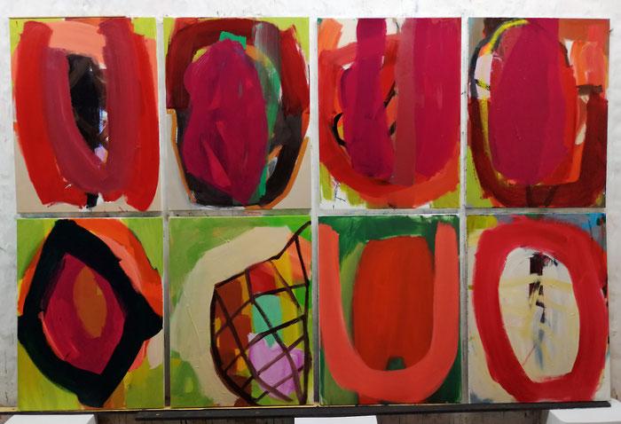 """O.T."""" (Acht Formen), 2020, Öl auf Leinwand, je 80 x 60 cm"""