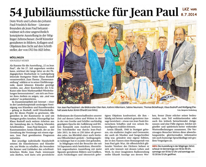 Zeitungsausschnitt aus der Ludwigsburger Kreiszeitung vom 8.7.2014
