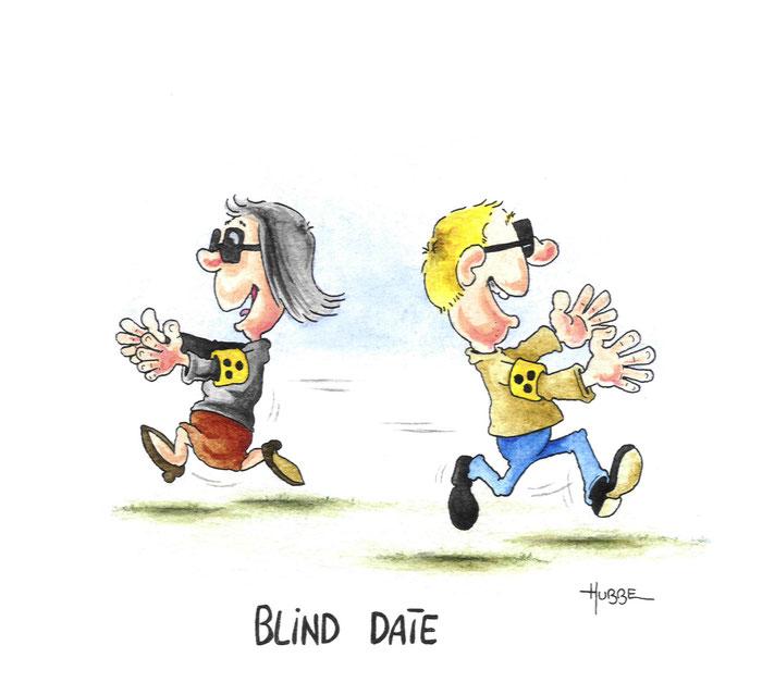 Cartoon: Blind date. Ein blinder Mann und eine blinde Frau laufen  lachend und mit freudig ausgestreckten Armen... aneinander vorbei. Cartoon von Phil Hubbe