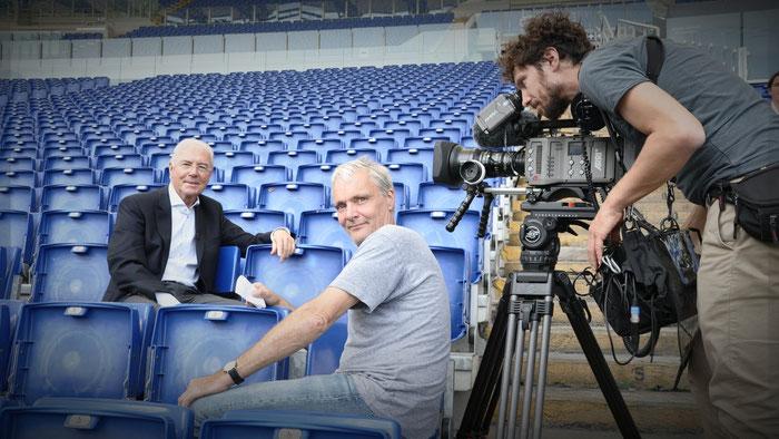 Franz Beckenbauer mit Regisseur Thomas Schadt und Kameramann Frank Marten Pfeiffer