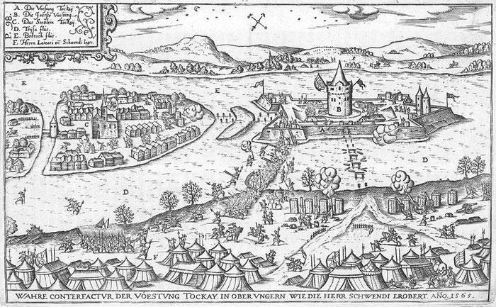 Le siège de la ville de Tokaj, 1565, Gravure de Abraham Ortelius