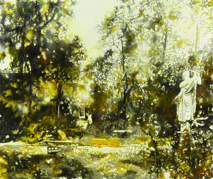 Laokoons Verbleib, Glasmalfarben und phosphoriszierende Farbe auf MDF-Platte, 98 cm x 120 cm, 2021