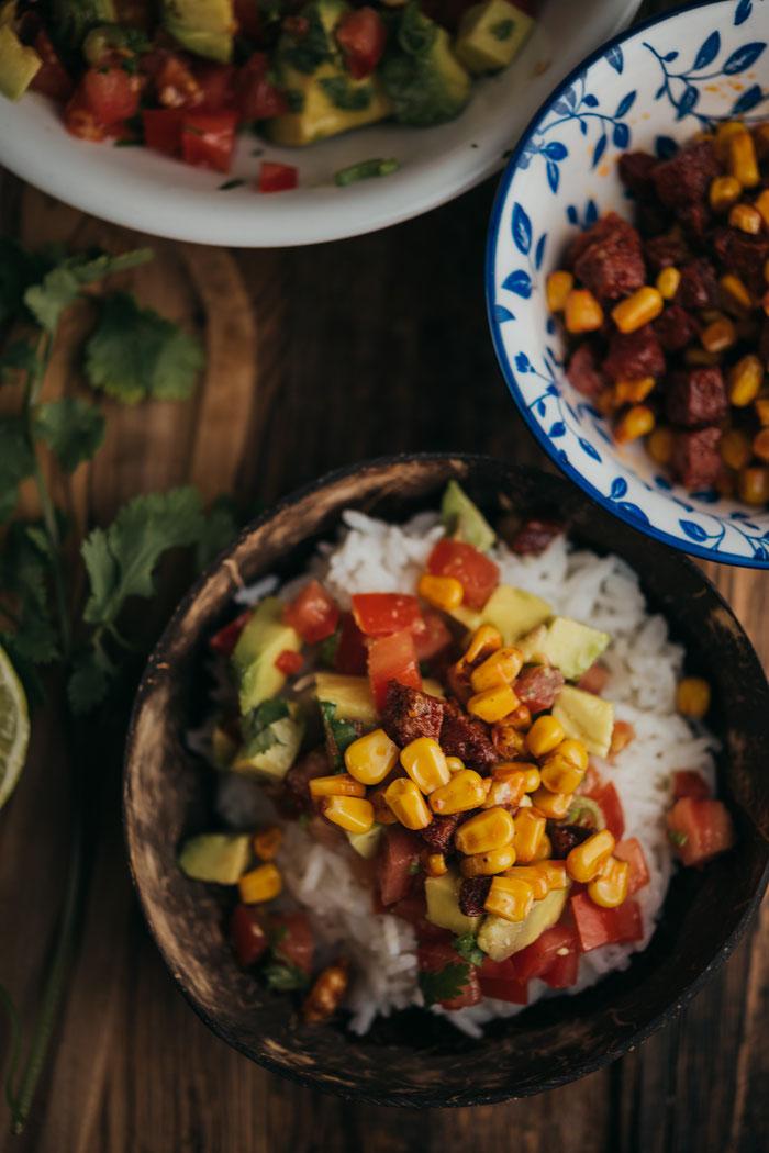 Burrito Bowle mit Reis