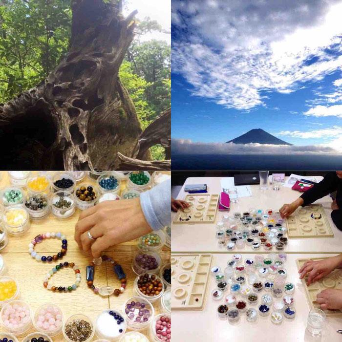 屋久杉富士溶岩天然石ブレスレット作り体験