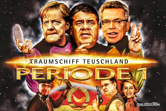 CDU, SPD, Angela Merkel, Sigmar Gabriel, Thomas de Maizière, Heiko Maas, Ralf Stegner, Ursula von der Leyen, Deutschland, EU, Politik, Satire