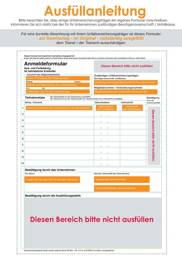 Anleitung, wie das BG-Formular richtig ausgefüllt wird, zur Abrechnung der Erste Hilfe Kursgebühren