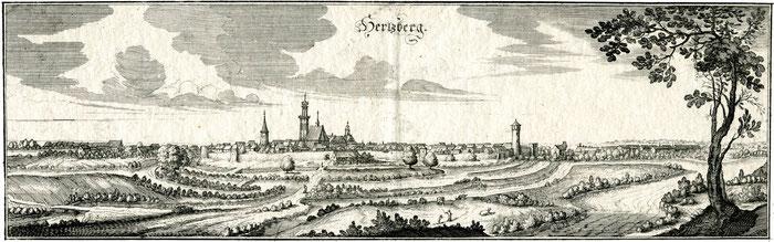 Die hier abgebildete Grafik von Merian ist wohl die bekannteste historische Stadtansicht Herzbergs. Sie diente einst zur Illustration einer Beschreibung von sächsischen Orten, erschienen 1650.