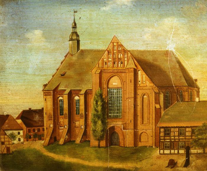 Bei dem Ölbild handelt es sich um einen Rekonstruktionsversuch der Klosterkirche aus dem späten 19. Jahrhundert. Dachreiter und Eingangsportal sind jedoch nicht nachgewiesen.