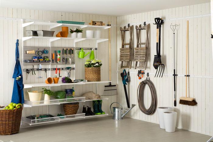 Regalsystem für Gartenhaus, Regalsystem Keller, Garageneinrichtung, Elfa Regalsystem