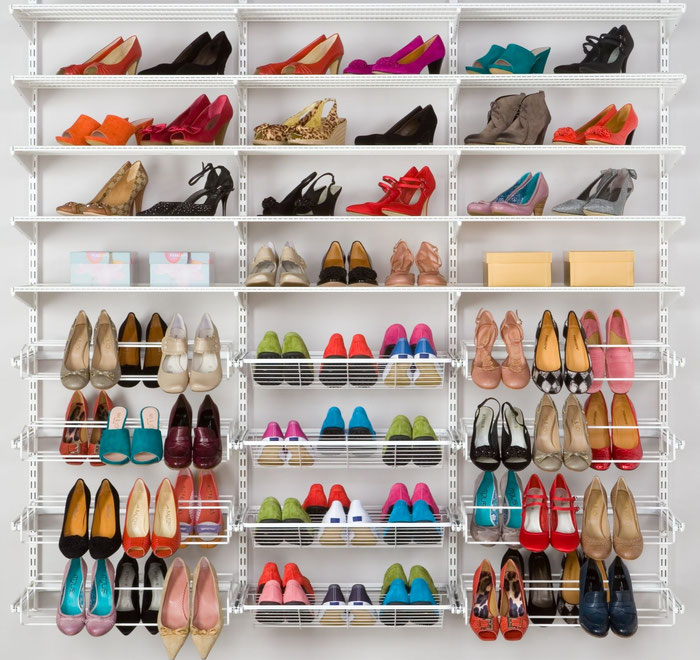 Elfa Regalsystem für Schuhe, Regalsystem Garderobe, Schuhregal, Regalsystem Metall