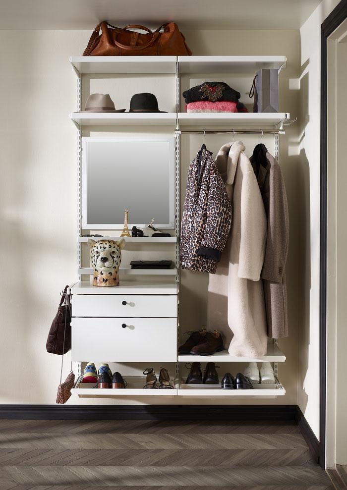 Garderobe Elfa Regalsystem - Elfa Décor in weiß oder grau lieferbar