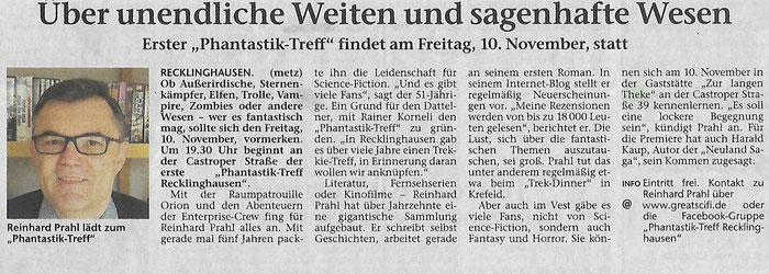 Vorbericht zum Phantastik Treff Recklinghausen in der Recklinghäuser Zeitung am 20.10.2017 und 04.11.207 in der Dattelner Morgenpost