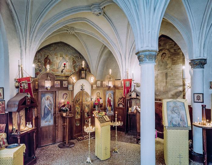 Die orthodoxe Kirche des Heiligen Prokopius in Lübeck. Die Kirche befindet sich in einer kleinen Kapelle an der Katherinenkirche. In dieser russischen orthodoxen Gemeinde hat Vater Ambrosius viele Jahrzehnte lang aufopferungsvoll als Priester gedient.