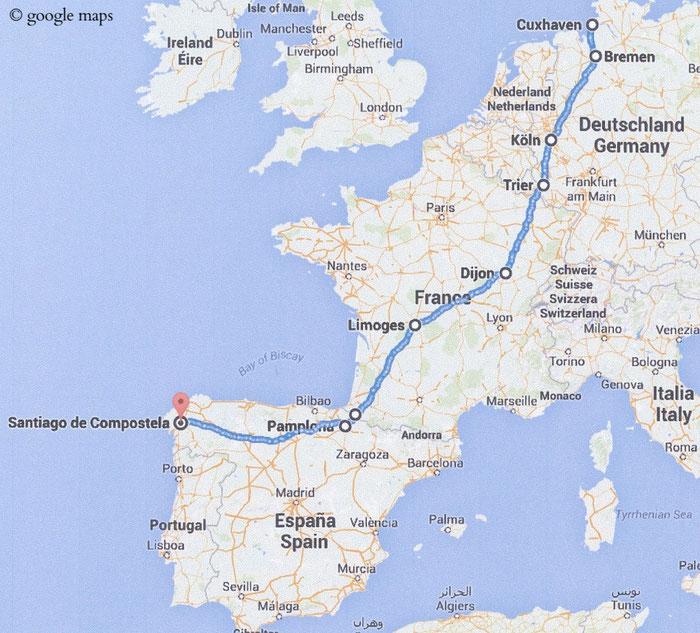 Der Pilgerweg/Camino von Cuxhaven nach Santiago de Compostela