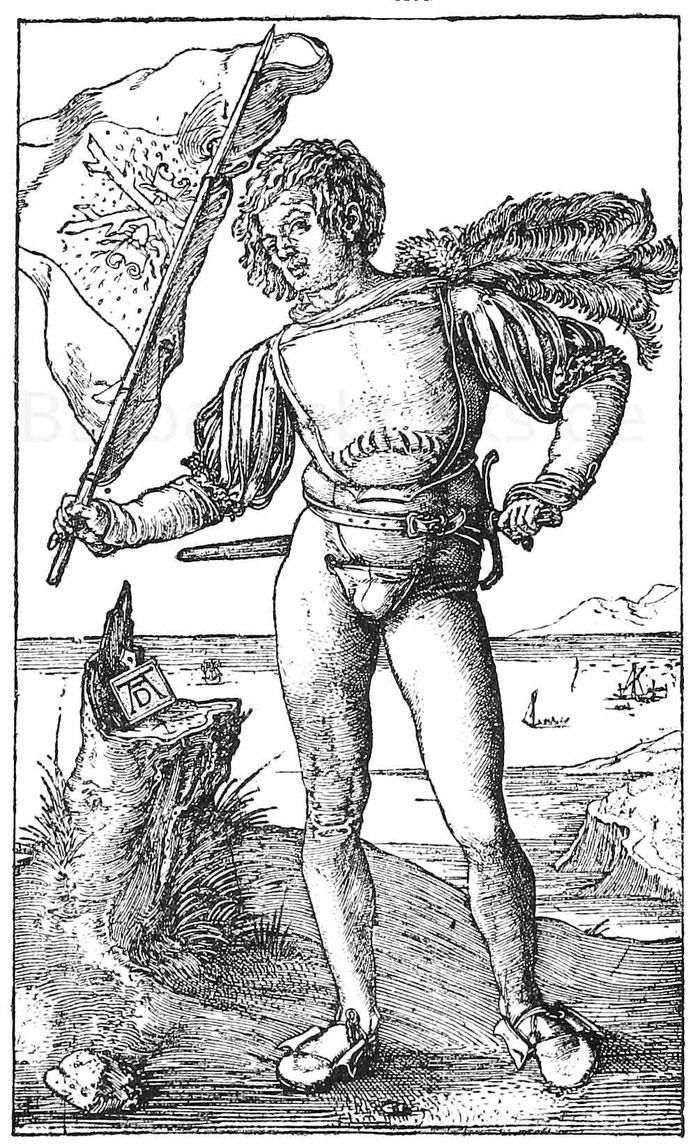 Fähnrich im Anfang des 16. Jhd. Kupferstich von Dürer.