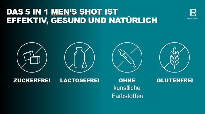 Das 5 in 1 Men's shot ist: Zuckerfrei, Lactosefrei, ohne künstliche Farbstoffen, Glutenfrei.