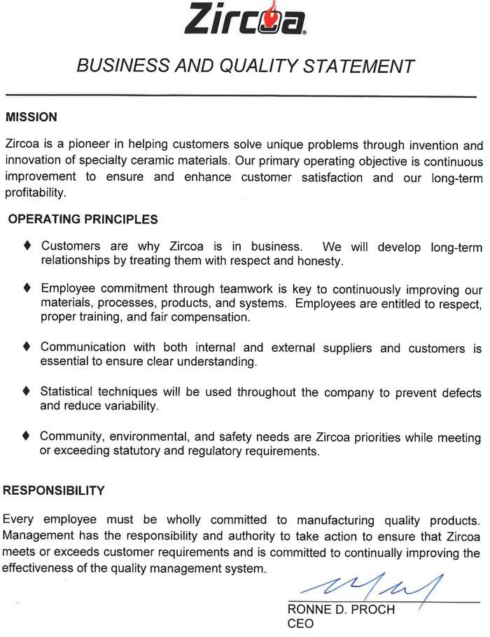 MISSION der Zircoa GmbH